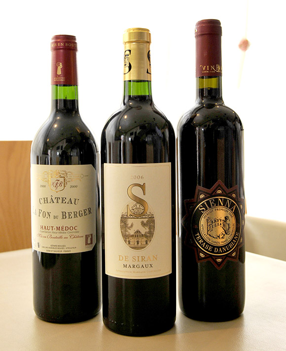 シャトー・ラ・フォン・デュ・ベルジェ オー・メドック(赤)2000、S・ド・シラン マルゴー(赤)2006、シエナ・テラス・ダヌビアンヌ(赤) 2012
